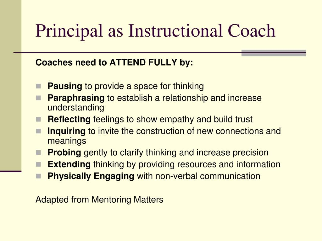 Principal as Instructional Coach