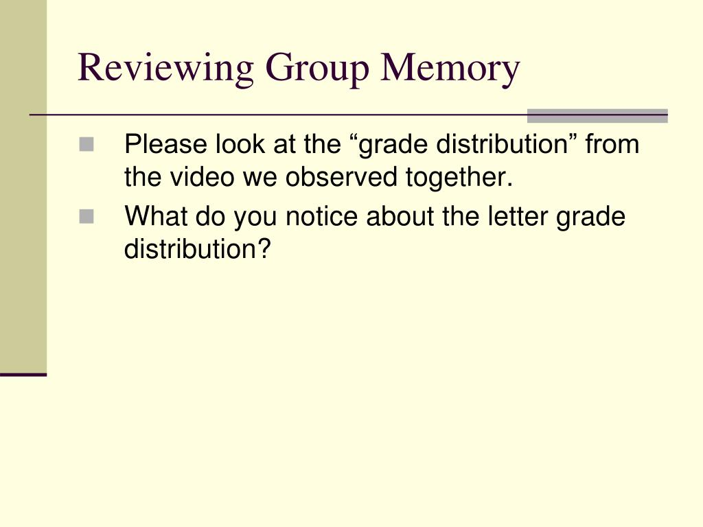 Reviewing Group Memory