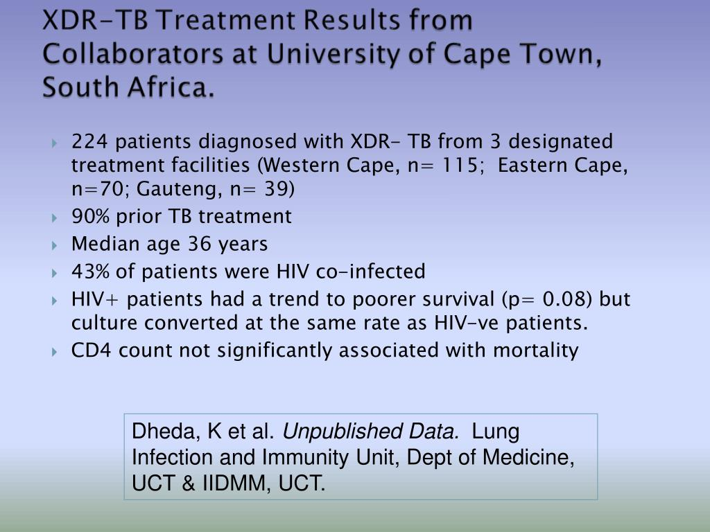 224 patients diagnosed with XDR- TB from 3 designated treatment facilities (Western Cape, n= 115;  Eastern Cape, n=70; Gauteng, n= 39)
