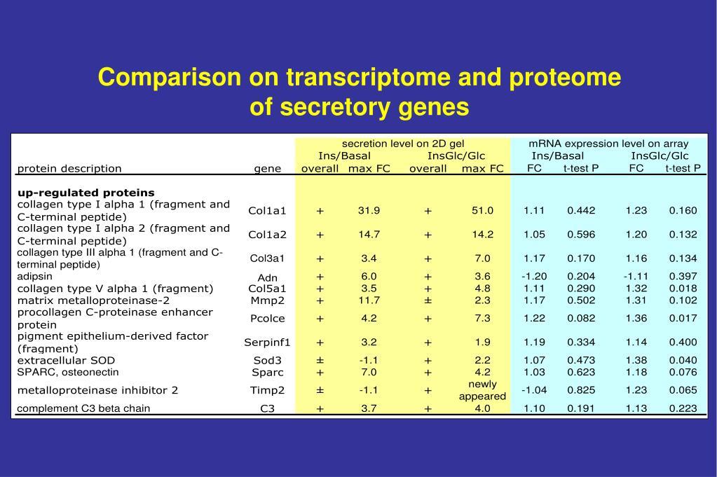 Comparison on transcriptome and proteome
