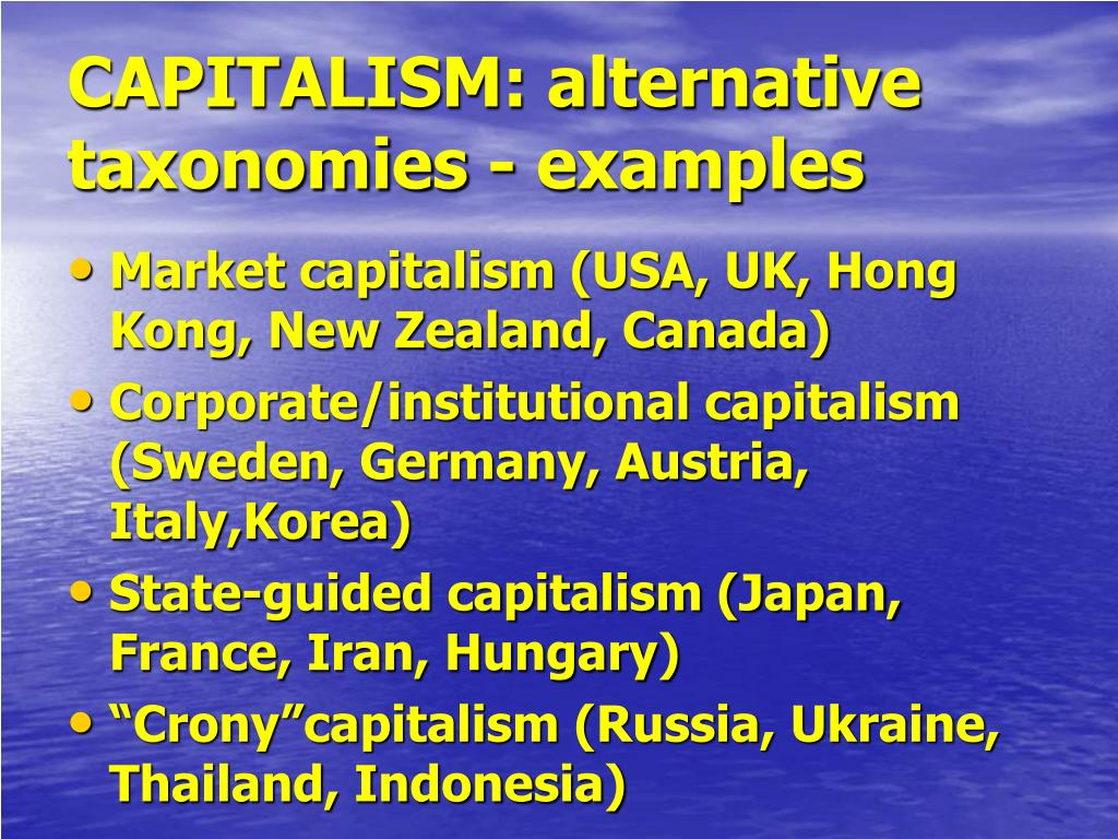 CAPITALISM: alternative taxonomies - examples
