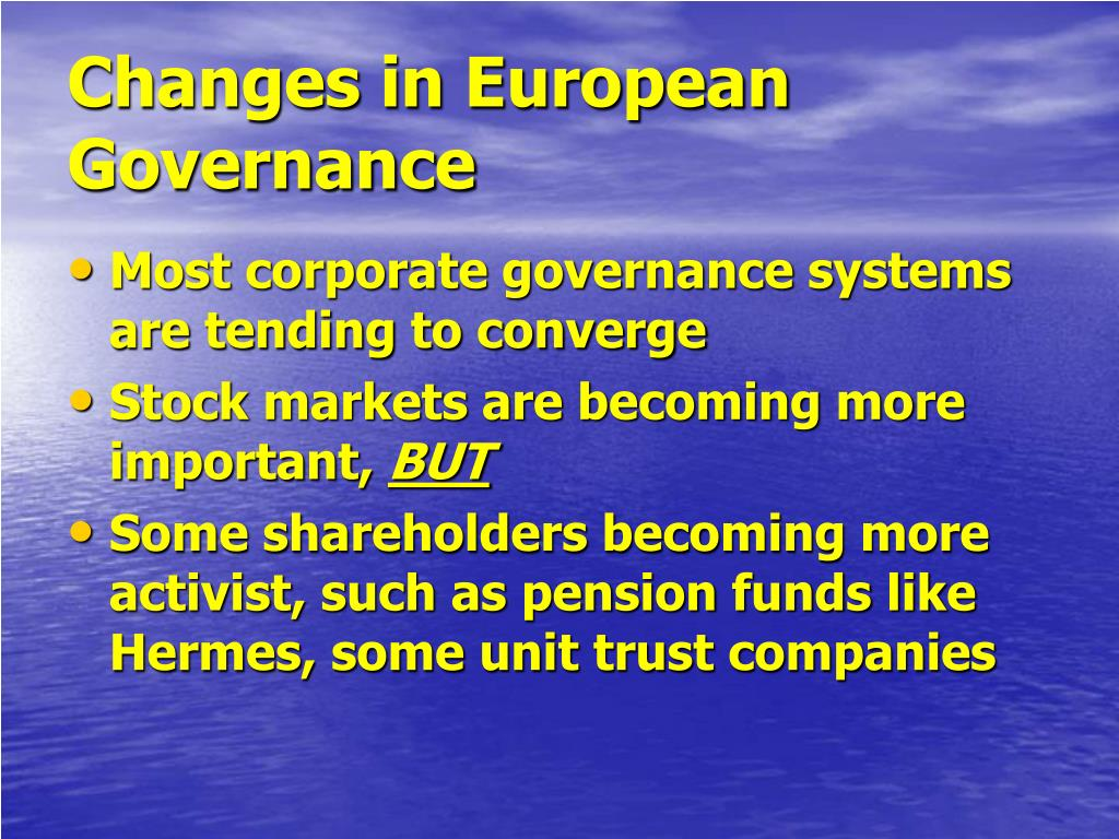 Changes in European Governance