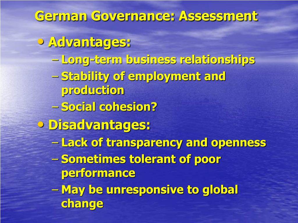 German Governance: Assessment