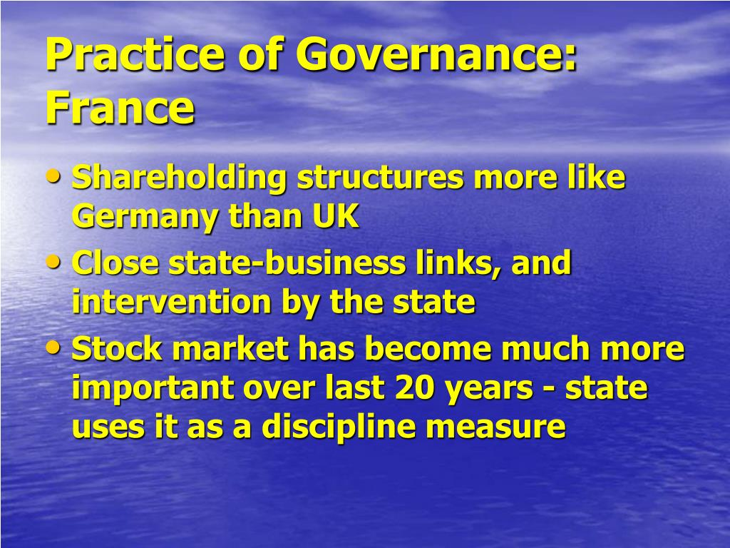 Practice of Governance: France