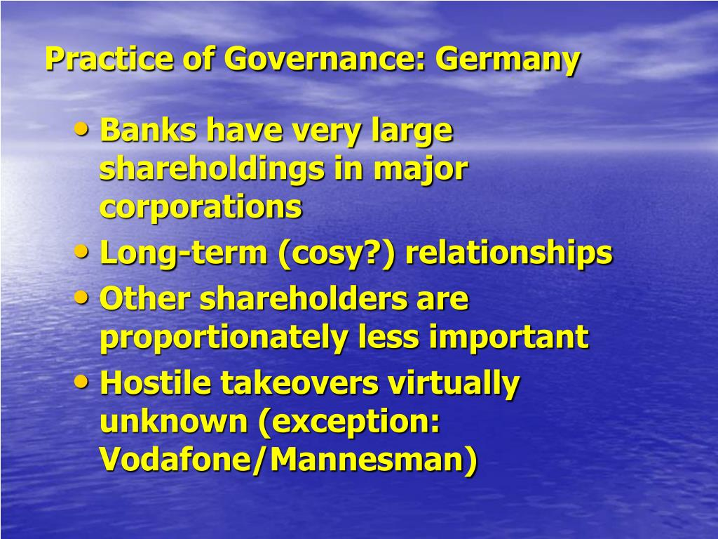 Practice of Governance: Germany