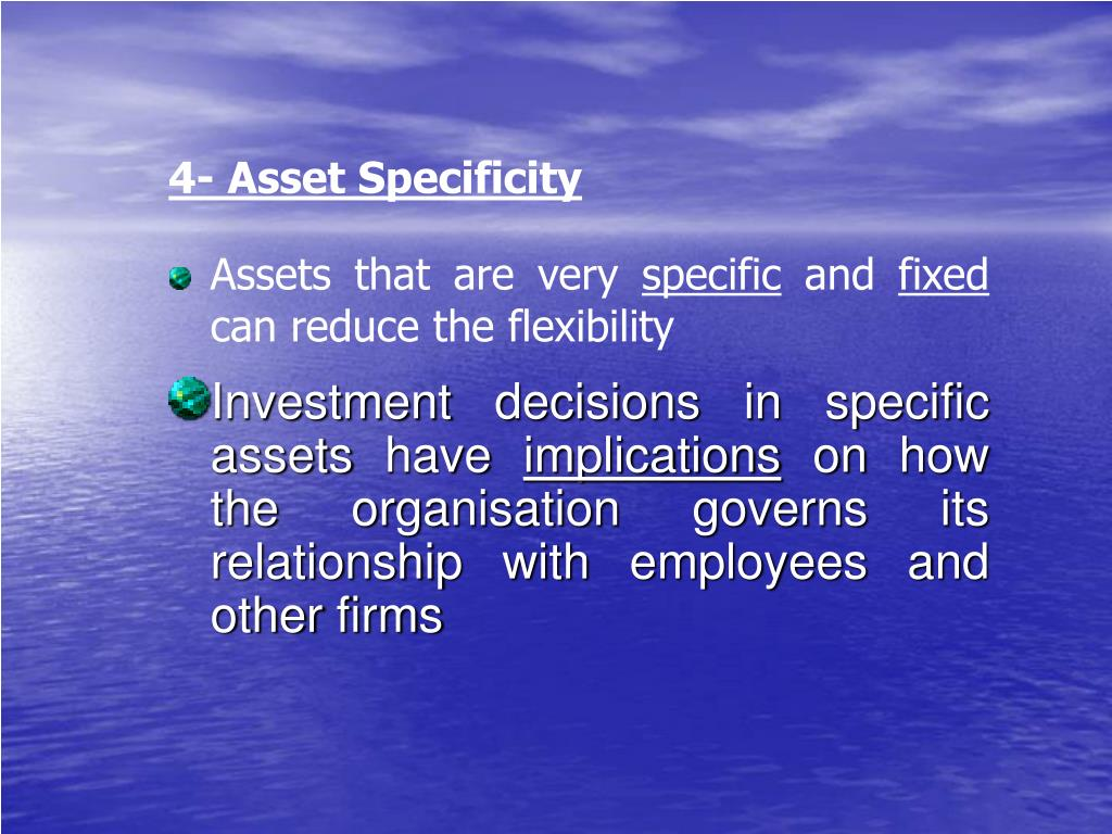 4- Asset Specificity