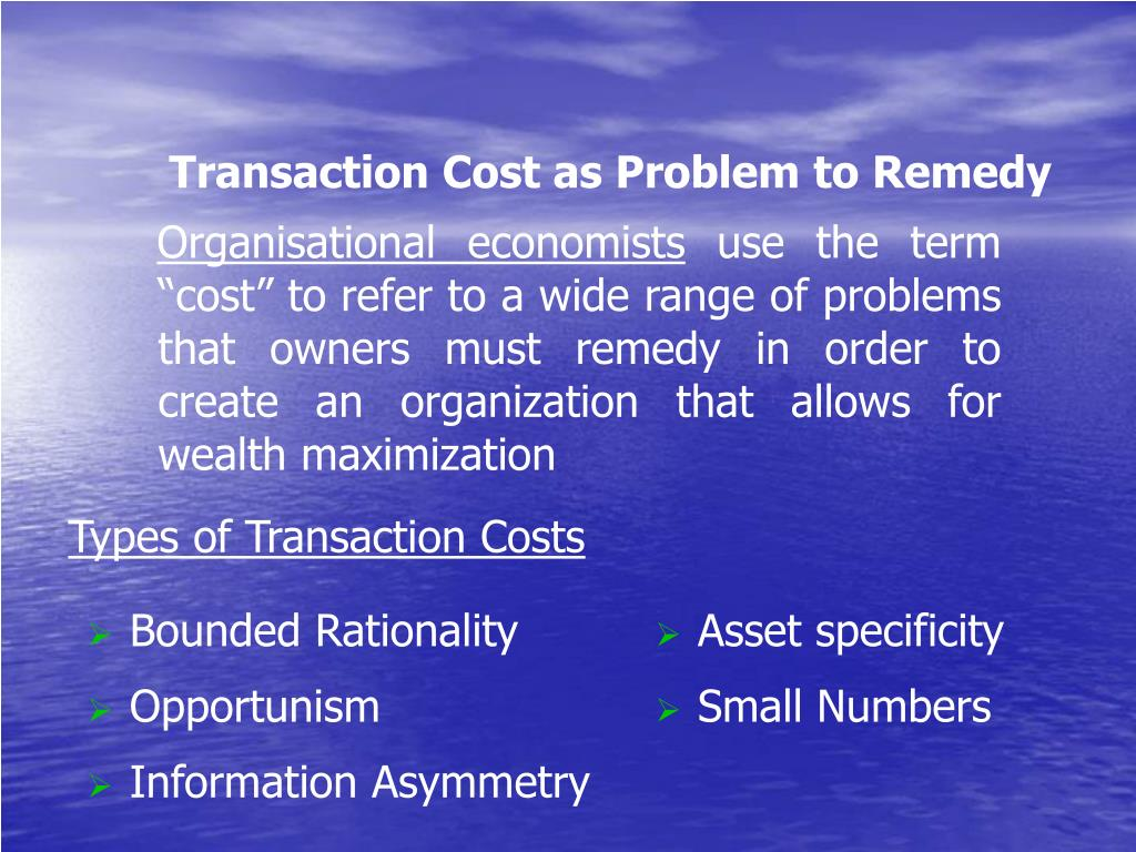 Transaction Cost as Problem to Remedy
