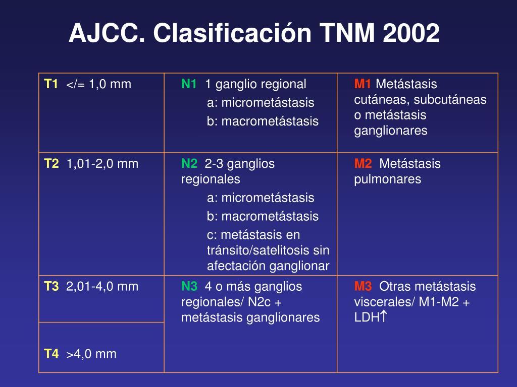 AJCC. Clasificación TNM 2002