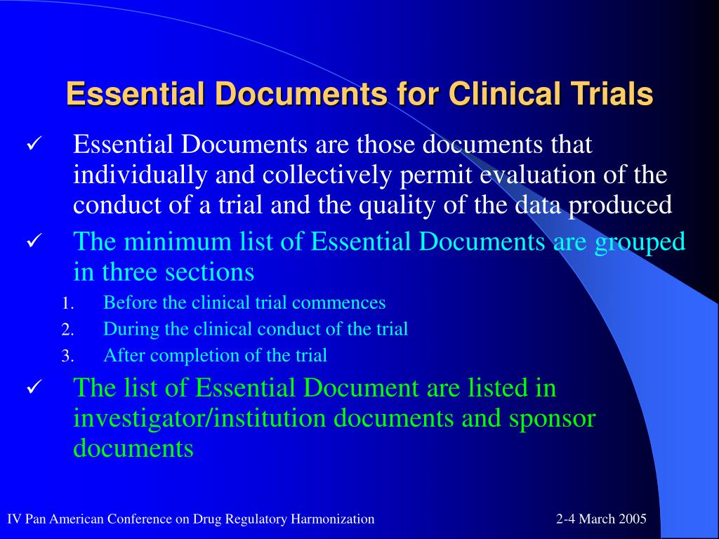 Essential Documents for Clinical Trials