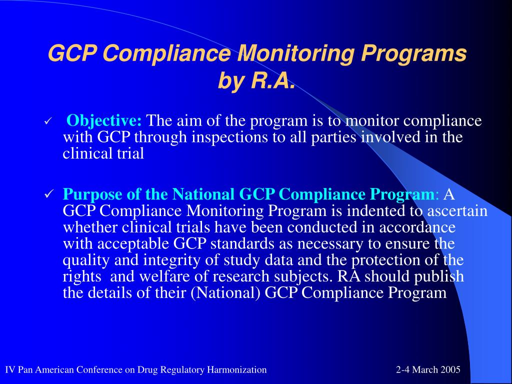 GCP Compliance Monitoring Programs by R.A.