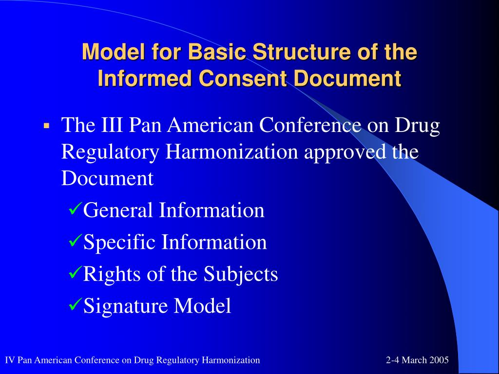 Model for Basic Structure of the Informed Consent Document