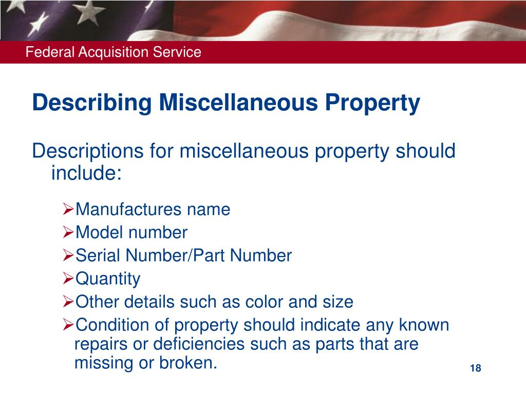 Describing Miscellaneous Property