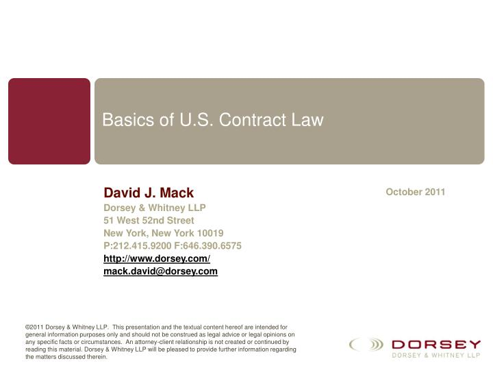 Basics of u s contract law l.jpg