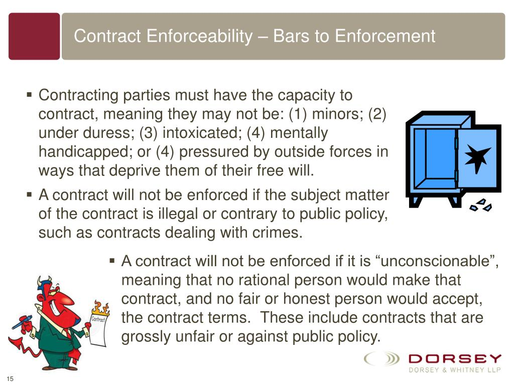 Contract Enforceability – Bars to Enforcement