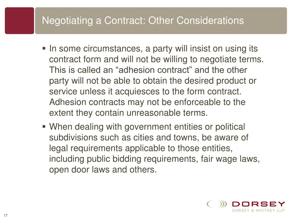 Negotiating a Contract: Other Considerations