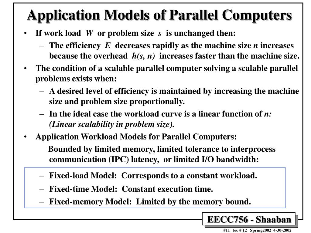 Application Models of Parallel Computers