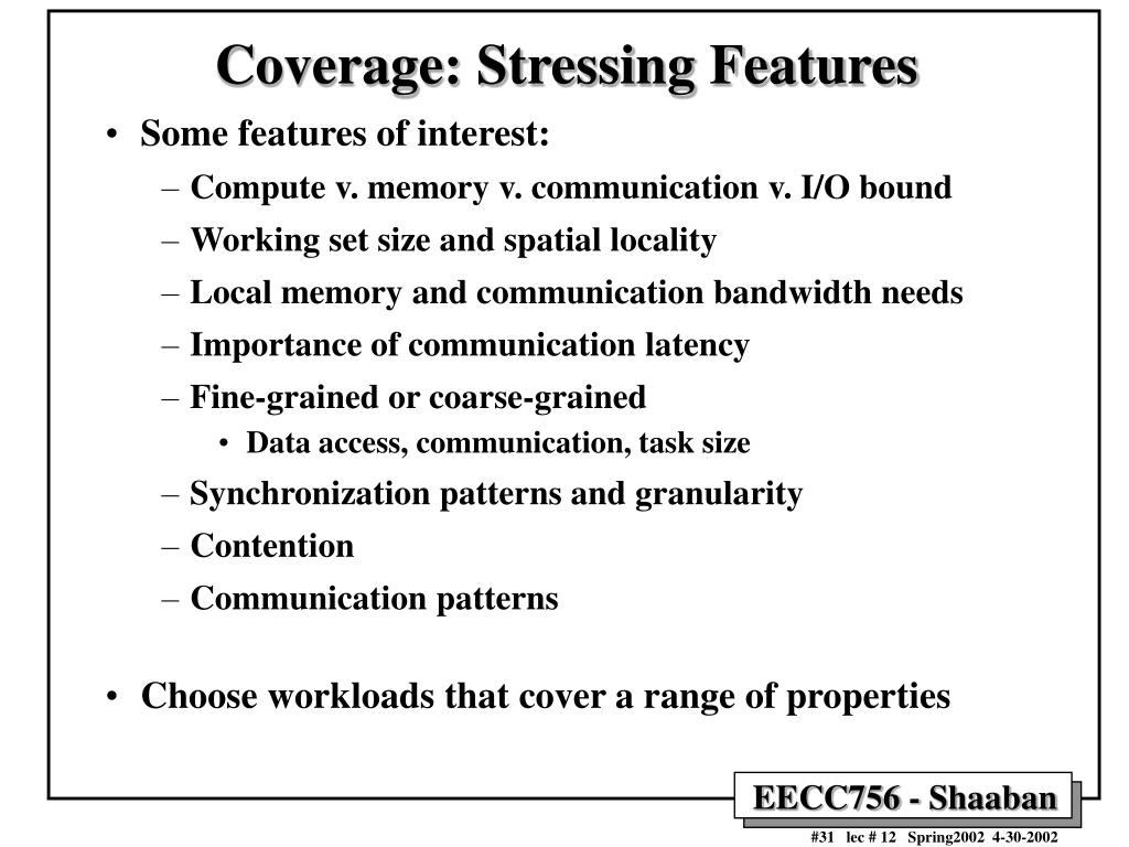 Coverage: Stressing Features