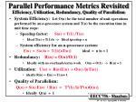 efficiency utilization redundancy quality of parallelism