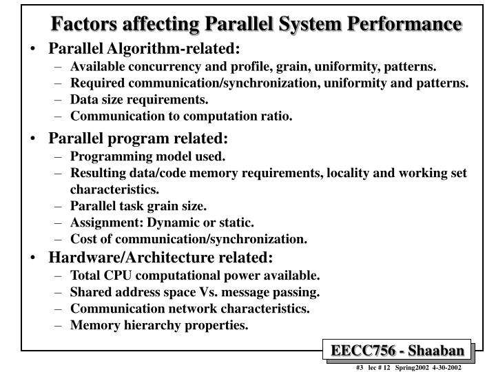 Factors affecting parallel system performance l.jpg