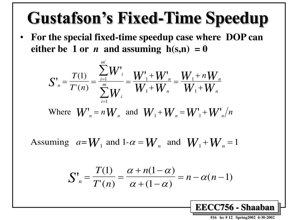 Gustafson's Fixed-Time Speedup