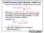 parallel performance metrics revisited amdahl s law