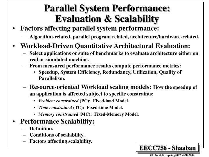Parallel system performance evaluation scalability l.jpg