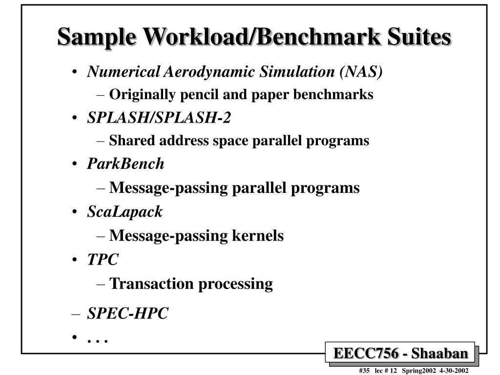 Sample Workload/Benchmark Suites