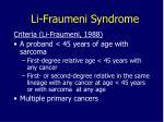 li fraumeni syndrome