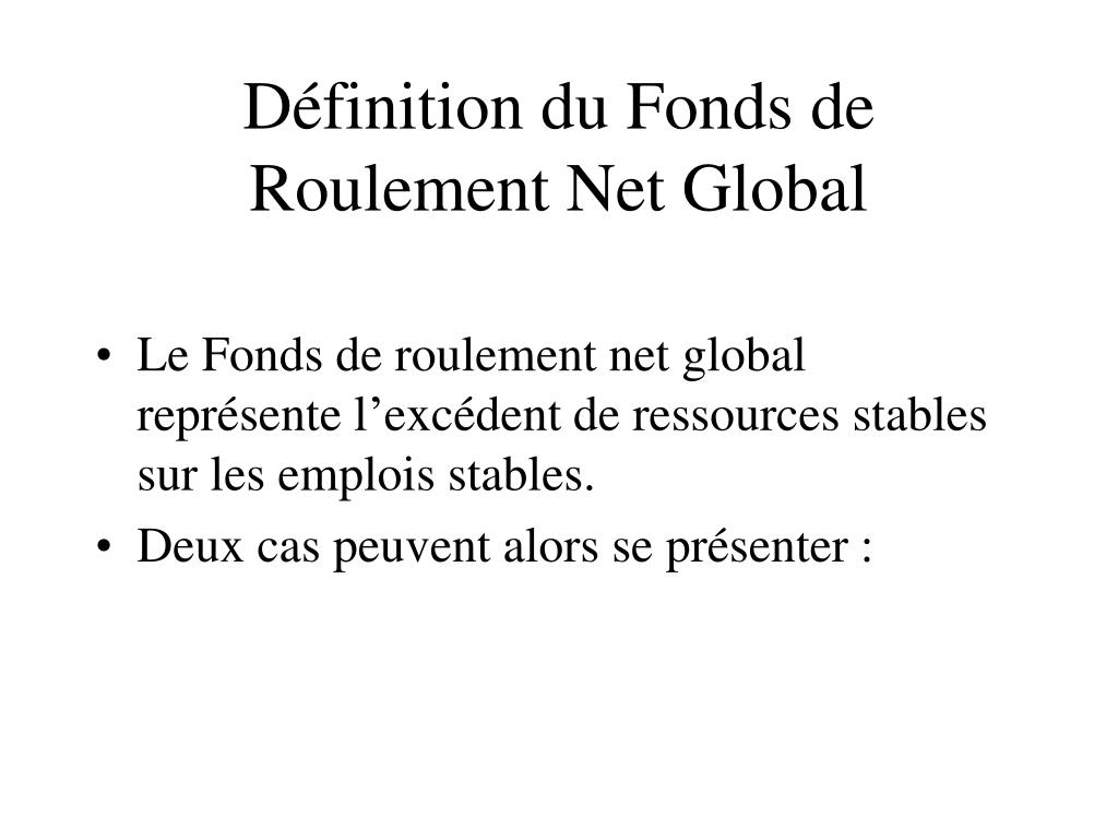 Ppt le bilan fonctionnel powerpoint presentation id 646387 - Fond de roulement copropriete ...