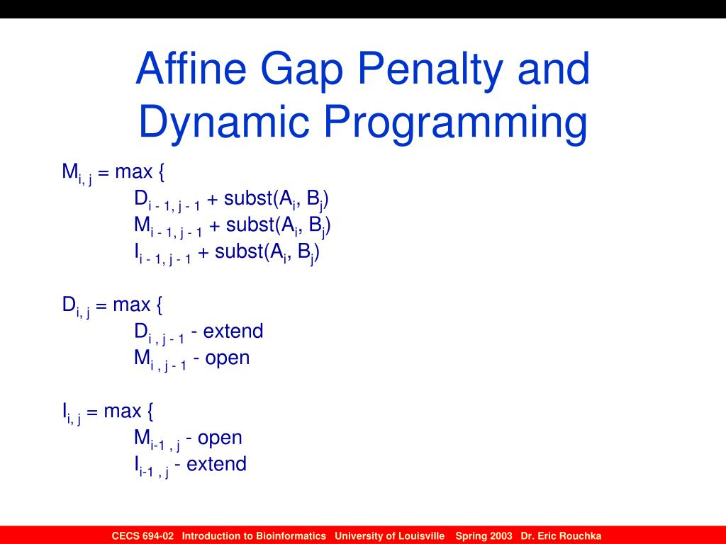 Affine Gap Penalty and Dynamic Programming