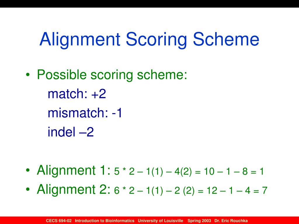 Alignment Scoring Scheme