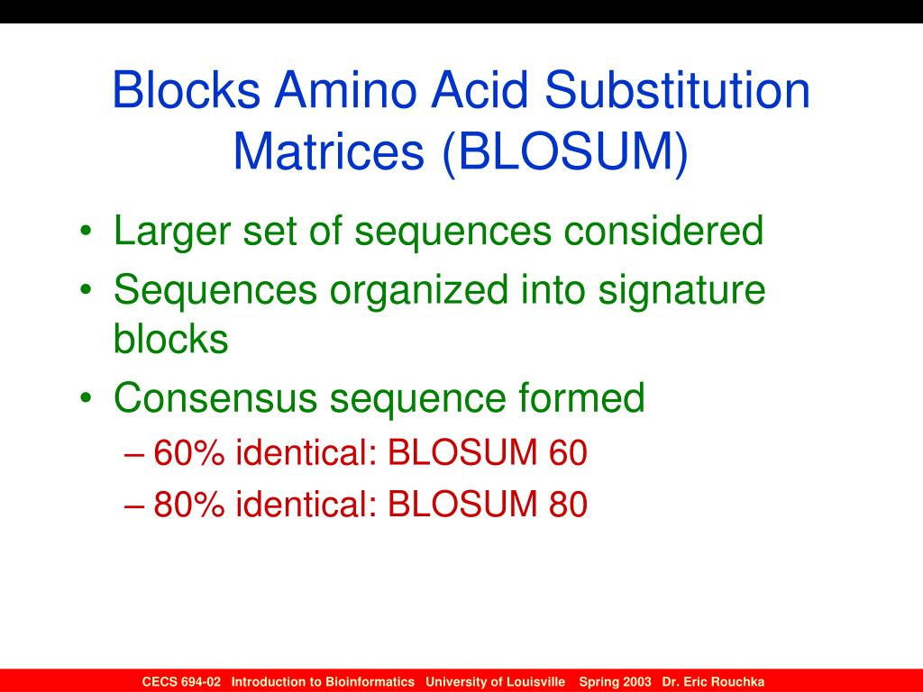 Blocks Amino Acid Substitution Matrices (BLOSUM)