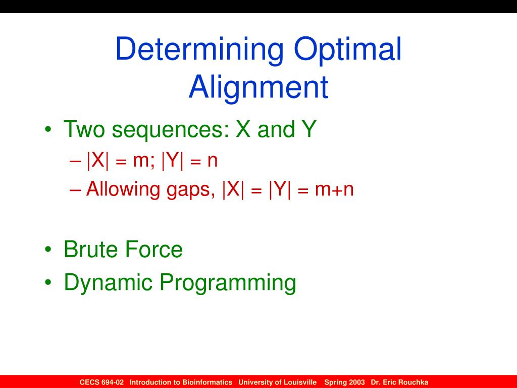 Determining Optimal Alignment