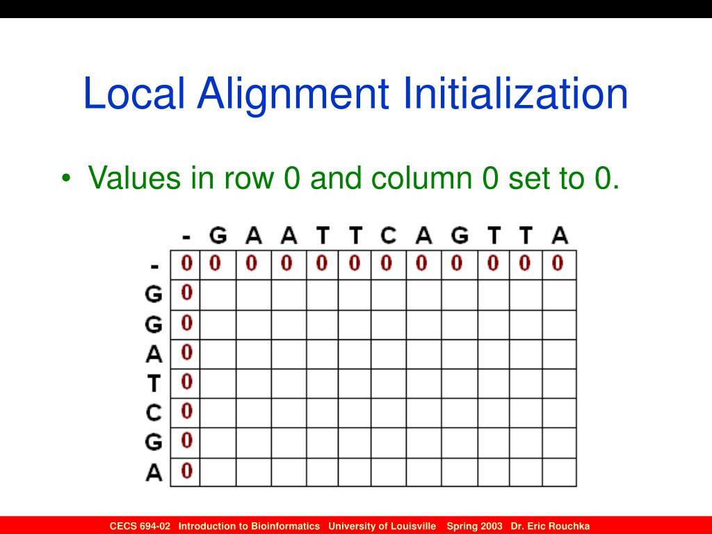 Local Alignment Initialization