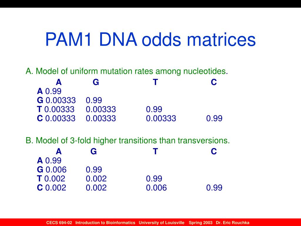 PAM1 DNA odds matrices