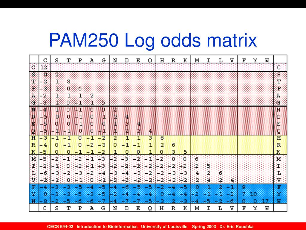 PAM250 Log odds matrix