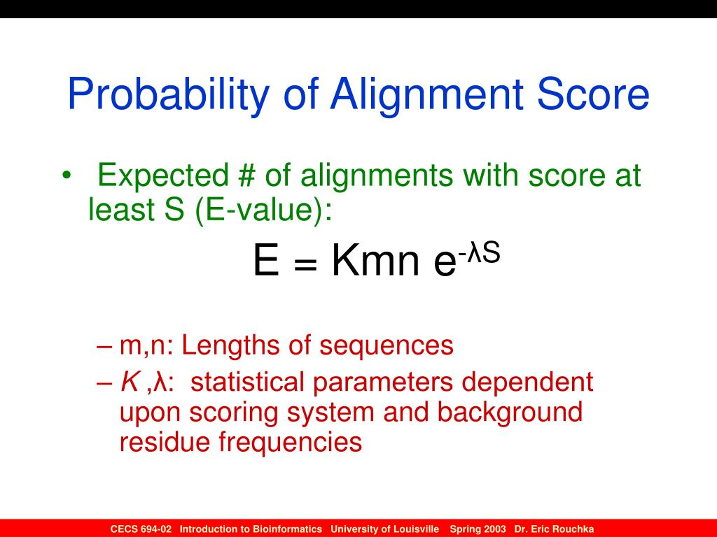 Probability of Alignment Score