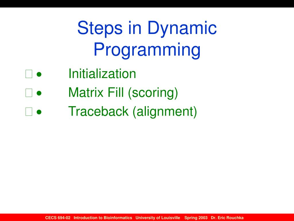 Steps in Dynamic Programming