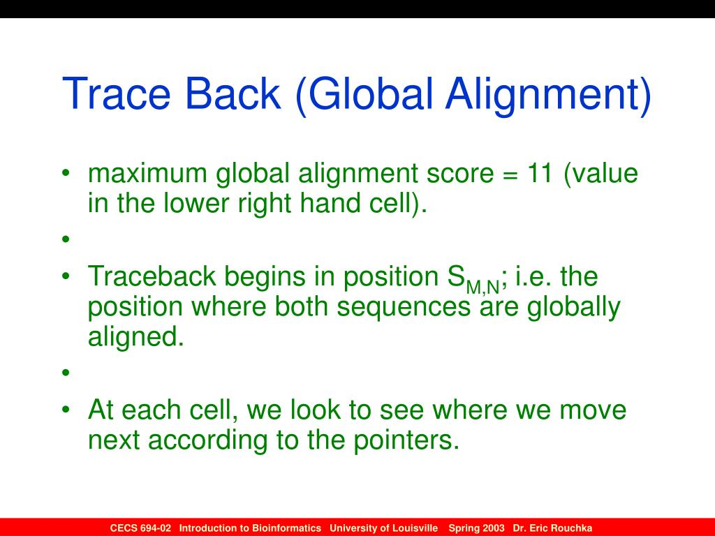Trace Back (Global Alignment)