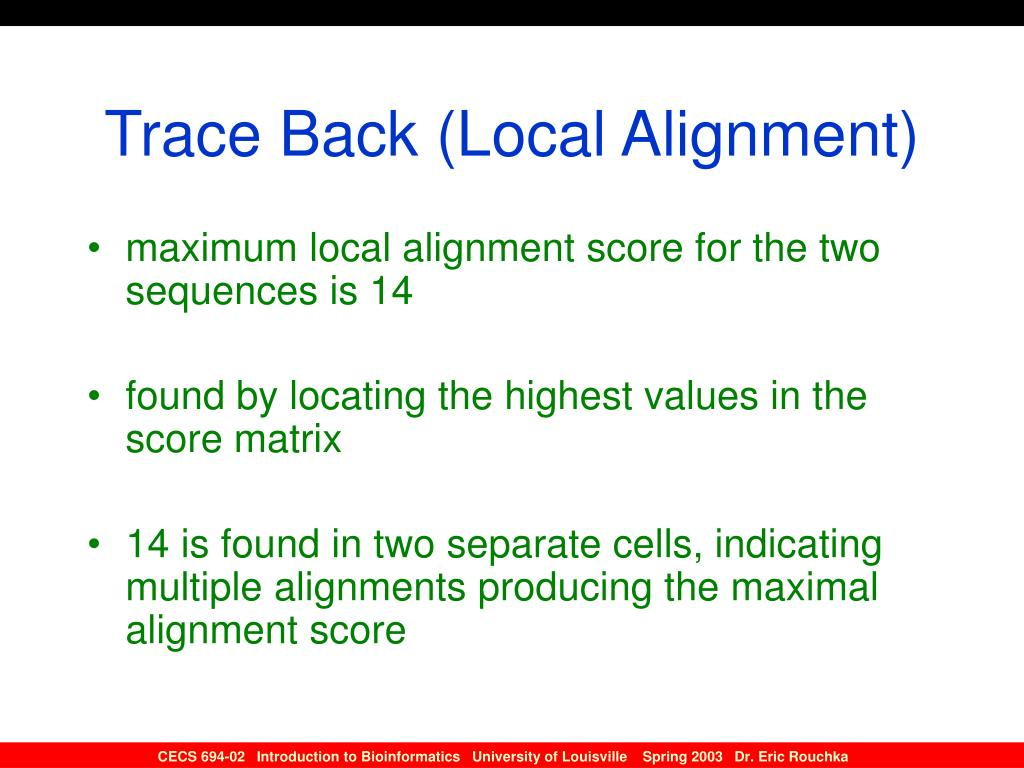 Trace Back (Local Alignment)