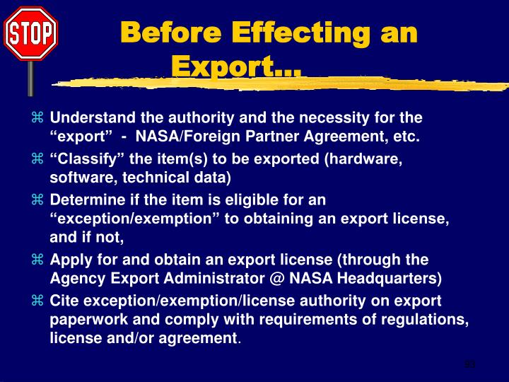 Before Effecting an Export...