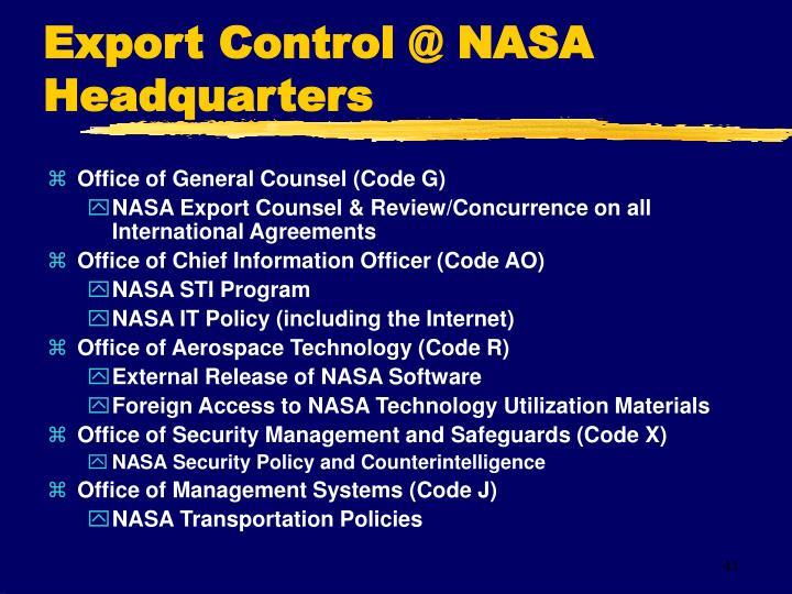 Export Control @ NASA Headquarters