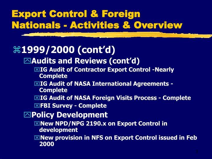 Export Control & Foreign Nationals - Activities & Overview
