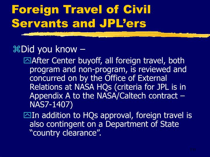 Foreign Travel of Civil Servants and JPL'ers