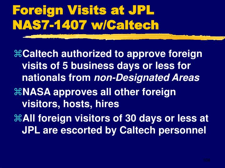 Foreign Visits at JPL