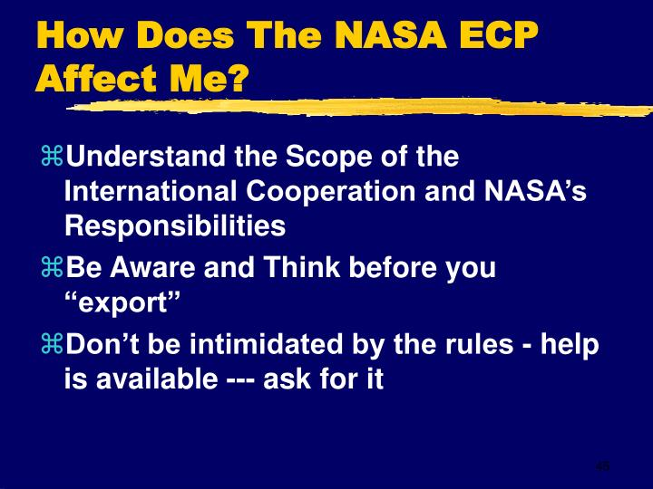 How Does The NASA ECP Affect Me?