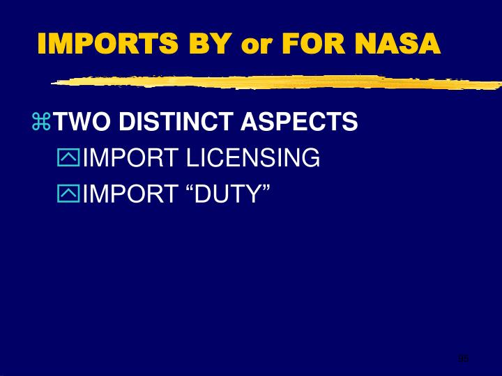 IMPORTS BY or FOR NASA