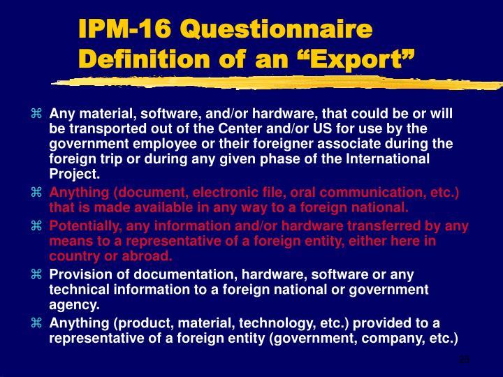 IPM-16 Questionnaire