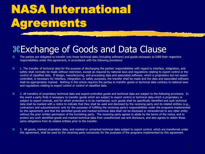 NASA International Agreements