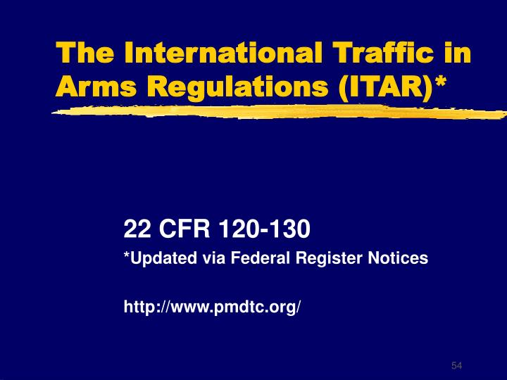 The International Traffic in Arms Regulations (ITAR)*